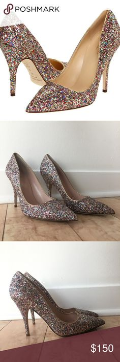 ✨ Kate Spade Licorice Too Glitter Heels ✨ Metallic leather piping around collar. 4 covered heel. Pointed toe. Padded leather insole. Perfect condition! Size 9. kate spade Shoes Heels