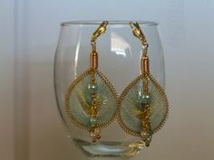 Round Peruvian Thread Earrings in Aquas and White | AngelOakDesigns - Jewelry on ArtFire