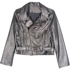 Silver Gray Lapel Belt Hem Crop PU Jacket (37 JOD) ❤ liked on Polyvore featuring outerwear, jackets, cropped jacket, polyurethane jacket, silver crop jacket, silver jacket and pu jacket