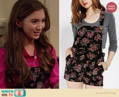Riley's black floral overalls on Girl Meets World.  Outfit Details: http://wornontv.net/35753/ #GirlMeetsWorld