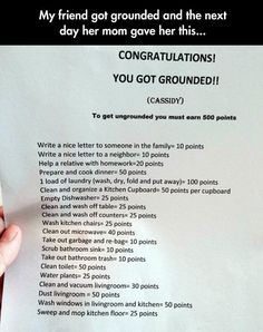Creative Punishment  - This is utterly brilliant.  As a kid, I would've managed well with this....and the laundry.