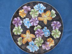 Vintage Black Floral Plate With Gold Trim by BitofHope on Etsy, $22.00