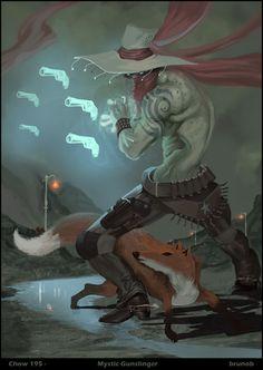 Chow 195 - Mystic Gunslinger by on DeviantArt Fantasy Character Design, Character Design Inspiration, Character Concept, Character Art, Dungeons And Dragons Characters, Dnd Characters, Fantasy Characters, Dark Fantasy, Fantasy Art