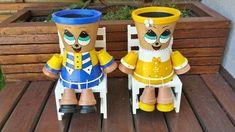 Os vasinhos decorados em forma de brinquedo atraem a atenção das crianças, embeleza os ambientes e ainda são funcionais.   São d...