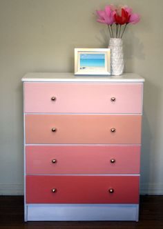 Beautiful Ombre Painted Wood Dresser. I would use different shades of pink for my little girls room!