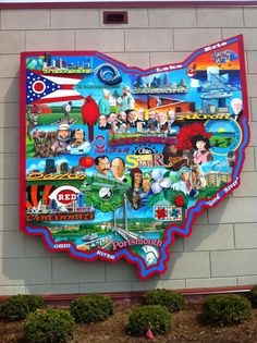 large Ohio map on wall in Portsmouth Ohio - very cool
