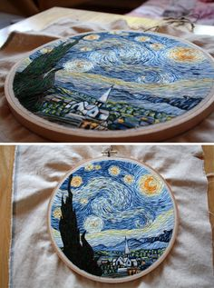 "Van Gogh's ""Starry Night"" embroidery by Lauren Spark.                                                                                                                                                      More"
