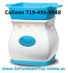 Blue Razz Curve Velata Fondue Warmer     This classic warmer is accented by a perfect pop of blue.  Warmer price includes 4 forks.  www.SoFondueofYou.velata.us