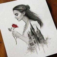 A Bela e a Fera (Artes) Beauty and the Beast (Art) Disney Art, Disney Kunst, Images Disney, Arte Disney, Disney Films, Disney Characters, Amazing Drawings, Beautiful Drawings, Cool Drawings