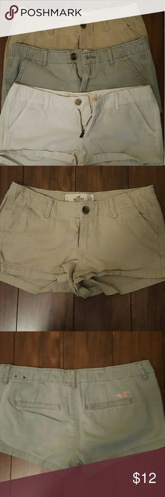 Hollister shorts Tan, white, and army green great summertime shorts! -All worn very few times -All size 1 -Great condition, no stains/rips -Smoke free home -Willing to negotiate price :) Hollister Shorts