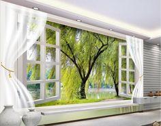 12.30$  Buy now - http://alidoo.shopchina.info/go.php?t=32689444955 - 3D room wallpaper landscape tree window papel parede mural wallpaper 3d wall murals wallpaper  #SHOPPING