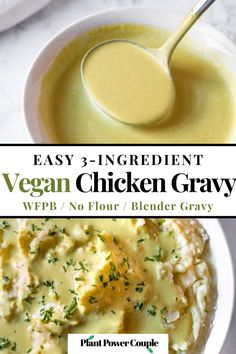 This easy vegan cashew gravy recipe takes 10 minutes, uses 3 ingredients (cashews or sunflower seeds, hot water, and vegan chicken bouillon powder). It's a simple Vitamix gravy recipe that's the perfect quick dairy-free side dish for Thanksgiving or Christmas. It's the perfect vegetarian gravy for biscuits and mashed potatoes. This healthy comfort food recipe is also naturally gluten-free and oil-free. #vegan #wfpb #oilfree #cashews #cashewgravy #veganthanksgiving #dairyfreeglutenfree Cashew Recipes, Vegan Gravy, Vegan Dinner Recipes, Vegan Dinners, Gluten Free Recipes, Cooking Recipes, Healthy Recipes, Vegan Thanksgiving