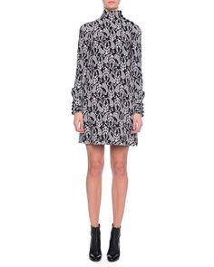 B2YH5 Dolce & Gabbana Floral-Print Tie-Neck Dress