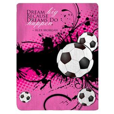 Soccer and Dream Big Quote Posh Fleece Blankets  by redbeauty