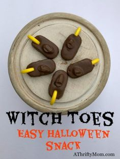 Witch toes easy Halloween snack are a fun Halloween snack that you can make in no time at all. Kids will think it is a funny treat.