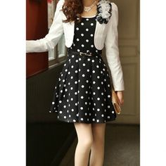 Casual Scoop Neck Polka Dot Waistband Twinset Plus Size Semi Formal Dress For Women, BLACK, XL in Casual Dresses | DressLily.com