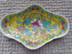 Antique Famille Jaune Footed Platter Chinese by MouseJrsPlace