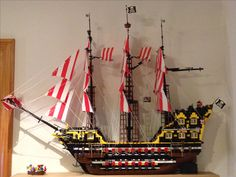 """Lego pirate ship, approx. 40x40""""."""