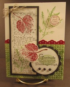 Cardstock: Pear Pizzazz, Cherry Cobbler, Very Vanilla  Stamp Sets: French Foliage, Day of Gratitude