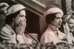 Queen Elizabeth II and Princess Margaret at the races
