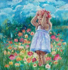 Art Original Oil Painting Сhild  Fine Impressionist