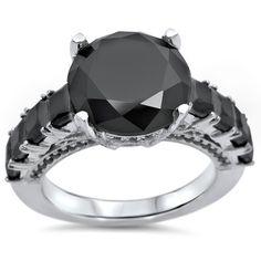 Noori 14k Gold /5ctw Black Round Diamond Engagement Ring