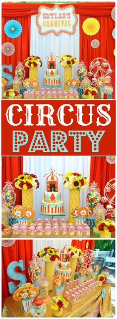 Here's an amazing glam carnival  for a first birthday! See more party ideas at CatchMyParty.com!