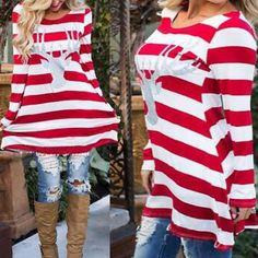 Girls' Clothing (Sizes 4 & Up) Women Girls Stripe Swing Dress Christmas Elk Long Sleeve Tube Mini Dress Skater Great Women, Amazing Women, Short Mini Dress, Matching Outfits, Maternity Fashion, Swing Dress, Striped Dress, Dress Collection, Long Sleeve