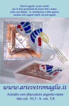 Astratto con placcatura argento-rame lato cm. 30,5 - h. cm. 3,8