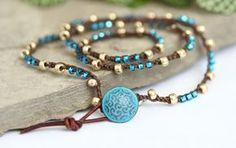 Triple Crochet Wrap Bracelet Necklace Gold di BearCreekCollection