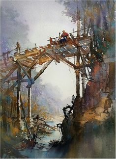 Memorial Day. Thomas W Schaller. Watercolor on #Fabriano Artistico. 30x22 Inches  30 May 2016.  Memorial Day: In the door to the porch was a tattered old screen, And a lazy summer fly circled inside and out. The unknown horizon Seemed to drift in like a wave And then slowly float away -  Pulling with it a thousand unimagined dreams.