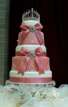 5 tiered cake with Tiara. Different colour scheme choice for a wedding. Love this colour for the brides maids dresses with ivory orchids, soft green and coral flowers. Beautiful Wedding Cakes, Gorgeous Cakes, Pretty Cakes, Cupcakes, Cupcake Cakes, Sweet 16 Birthday Cake, Birthday Cakes, Quince Cakes, Round Wedding Cakes