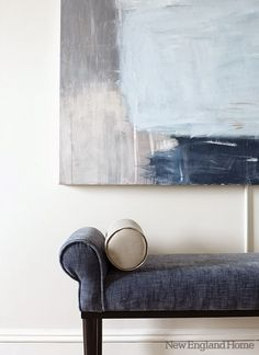 Accessories and upholstery take their cue from the hues in the living room's large abstract painting. - shades of blue Decoration Inspiration, Color Inspiration, Interior Inspiration, Azul Niagara, New England Homes, Moody Blues, The Design Files, House And Home Magazine, Shades Of Blue