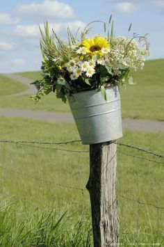 Fence Post and galvanized bucket with flowers~~