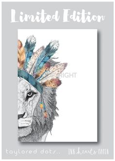 Love this gorgeous limited edition print from Taylored Dots and Ink Hearts Paper. Feather Headdress, Flower Headpiece, Feather Crown, Crown Painting, Lion Flower, Him And Her Tattoos, Heart Of A Lion, Bear Nursery, Leo Lion