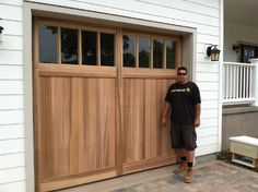 With an extra large window design, this wood tone garage door is uniquely impressive. Craftsman Garage Door, Wood Garage Doors, Garage Door Styles, Garage Door Design, Garage Renovation, Garage Makeover, Facade Design, House Design, Exterior Siding Options