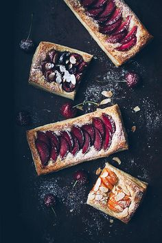 Vanilla Cinnamon Cardamom Stone Fruit Tarts with Cherries, Plums, Apricots and Sliced Almonds