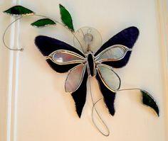 Stained Glass Butterfly Suncatcher by GlassofDistinction on Etsy, $16.95