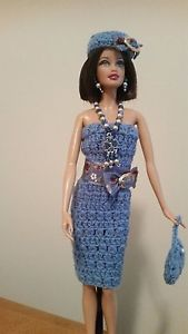 Handmade-Crochet-Barbie-Outfit-Dress-Hat-Purse-and-Jewelry