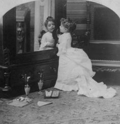 Too fantastically darling for words! #Victorian #child #girl #mirror #portrait #adorable #cute #1800s #dress