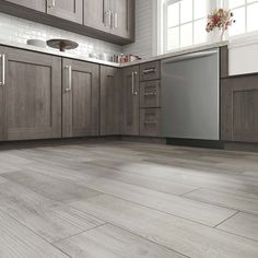 Style Selections Woods Vintage Gray x Glazed Porcelain Wood Look Floor Tile at Lowe's. Experience a unique combination of timeless Italian design. History and style collide with this rustic barn wood look. Wood Like Tile Flooring, Grey Wood Tile, Grey Wood Floors, Grey Floor Tiles, Grey Flooring, Kitchen Flooring, Laminate Flooring, Wood Effect Floor Tiles, Modern Floor Tiles