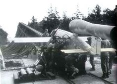 V1 flying bomb on its launch ramp in France, 1944.