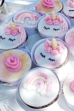 Take a look at this pretty pink unicorn garden party! The cupcakes are wonderful! See more party ideas and share yours at CatchMyParty.com #partyidea #unicornparty #baptism #unicornbaptism #gardenparty
