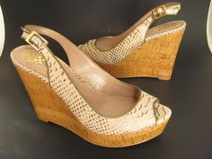 """Vince Camuto peep toe slingback sandals in womens size 8 B. They have beige shakeskin print leather uppers and 5"""" high wedge cork platforms. Sexy summer! A note about Gently Preowned Shoes: Each shoe is sanitized with Lysol. 