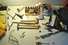 Angry Weather's jewelry making studio. So well-organized!
