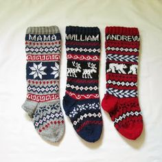 Knitted Christmas Stockings personalized Set of 3 Fair isle customized personalized Holiday stockings made to order Personalized and custom Traditional Christmas Stockings, Knitted Christmas Stockings, Xmas Stockings, Christmas Knitting, Sweater Knitting Patterns, Free Knitting, Knitting Socks, The Night Before Christmas, Christmas Fun