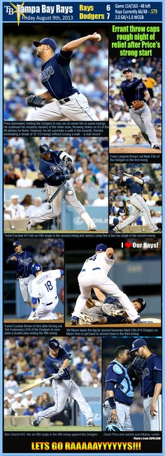 TAMPA BAY RAYS - 08/09/2013  RAYS 6 - DODGERS 7. David Price pitched another outstanding game and all was going well until things were handed over to our Bullpen! Lets hope they can get it together in this next game as we are now 3 Losses in a row. GO RAYS!!!