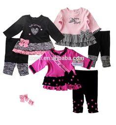 Mädchen Baby Set Langarmshirt Pulli Leggins Schwarz Pink rosa Gr. 62 68 74 80 C5