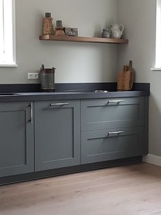 Kitchen Units, New Kitchen, Kitchen Dining, Kitchen Cabinets, Grey Kitchens, Cool Kitchens, Black Kitchen Countertops, Farmhouse Addition, House Inside