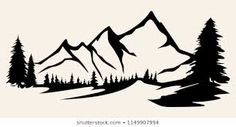 mountain outline graphic - Google Search Mountain Outline, Mountain Silhouette, Image Types, Pyrography, Line Art, Wood Crafts, Wood Signs, Stencils, Moose Art